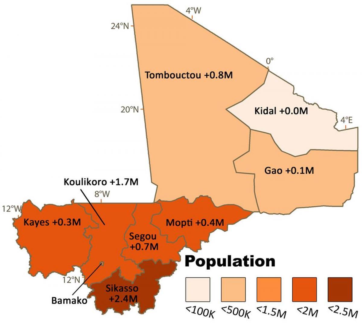 kart over mali Mali befolkning kart   Kart over Mali befolkning (Vest Afrika  kart over mali
